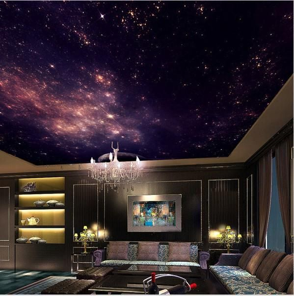 Three-dimension high quality night sky and stars ceiling wallpaper. 3d nebula theme mural. Stunning galaxy design wallpaper for ceilings. Free shipping.
