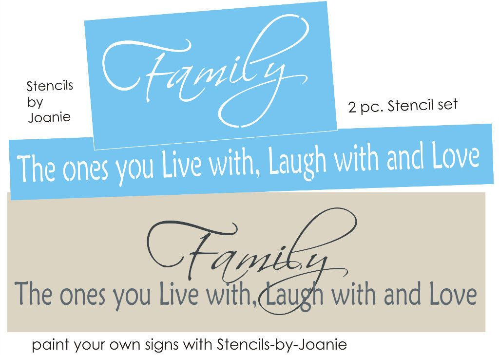 2 pc Overlay Stencil Family Live Laugh Love With Country Home Primitive Art Sign