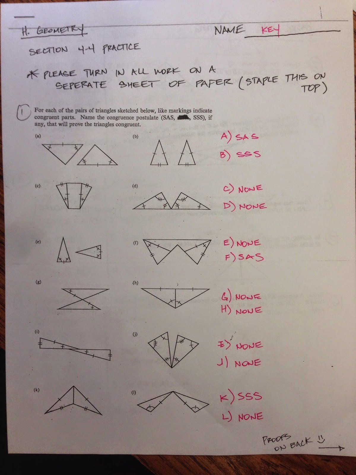 Triangle Congruence Practice Worksheet Proving Angles