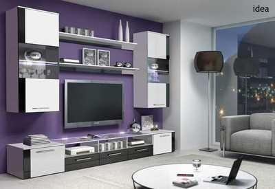 Tv media cabinet stand , wall unit , led lights - idea manta black ...