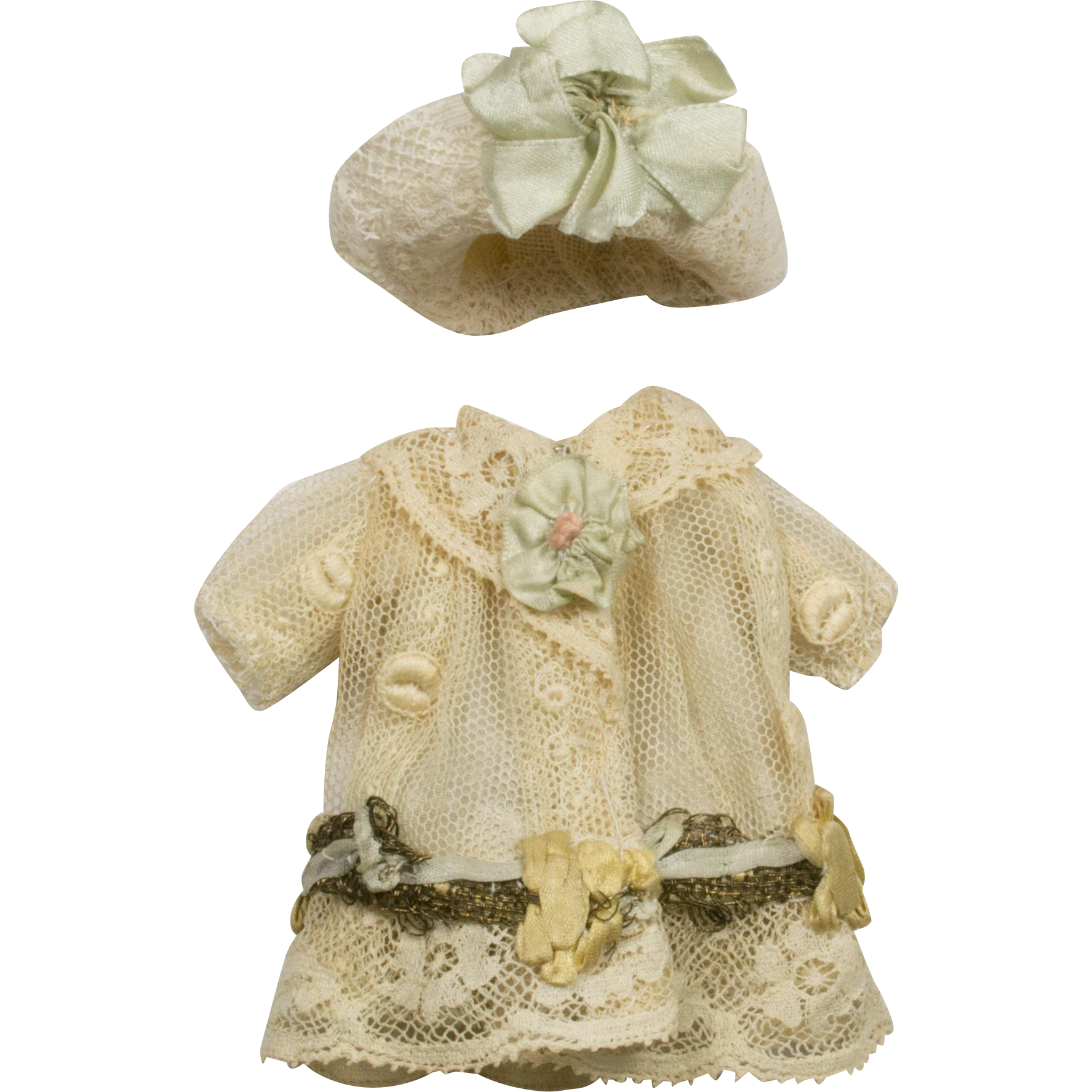 Doll Clothes VintageAntique Hand Made Knit Lace Shawl with Metallic Gold Threads As Is for Crafts Lots More