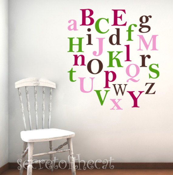 Alphabet decal nursery vinyl decal children wall decal monogram colorfull personalized vinyl on etsy 36 00