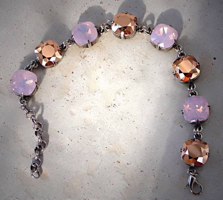pin pink stone gemstones natural calming opal quartz healing bracelet stretch