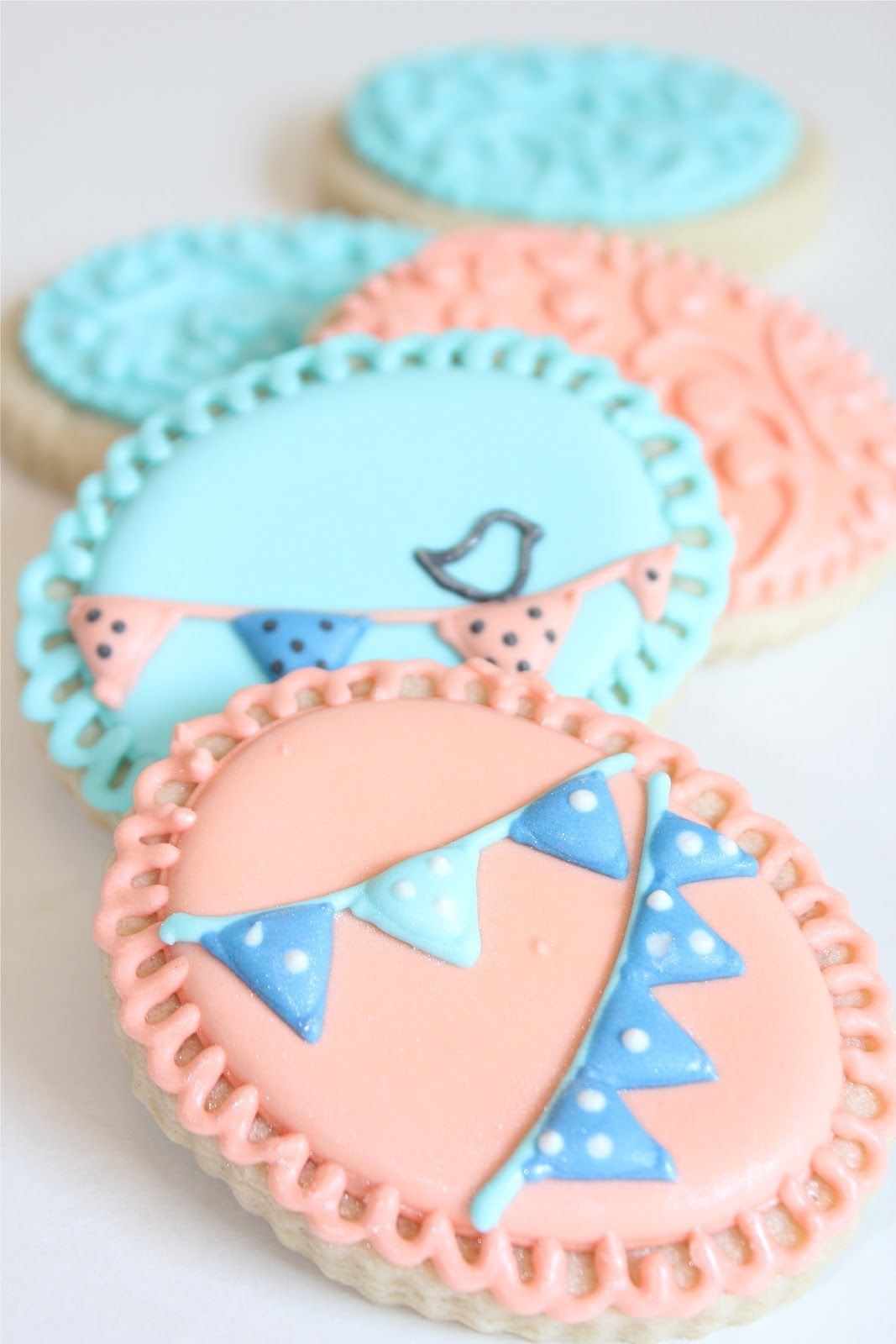 Sugar Bea's Blog: Vintage Aqua and Coral Thank You Cookies
