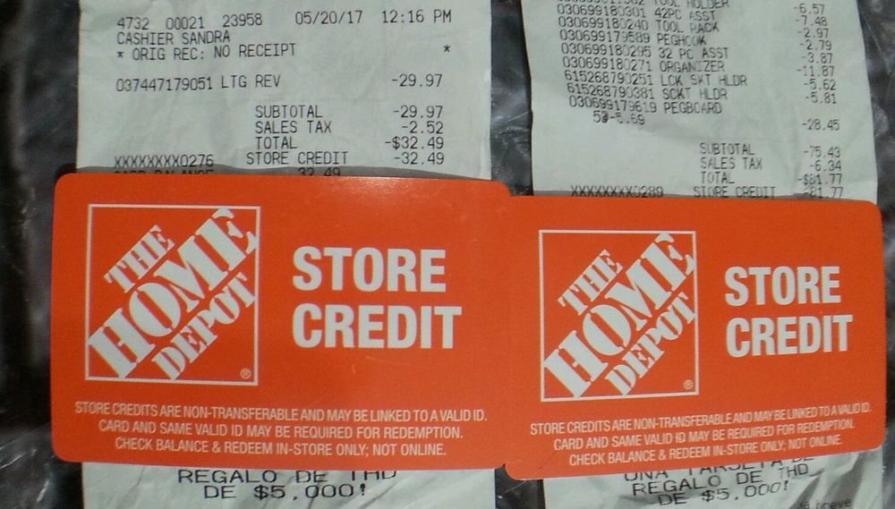 Home depot gift card store credit 11426 card in hand