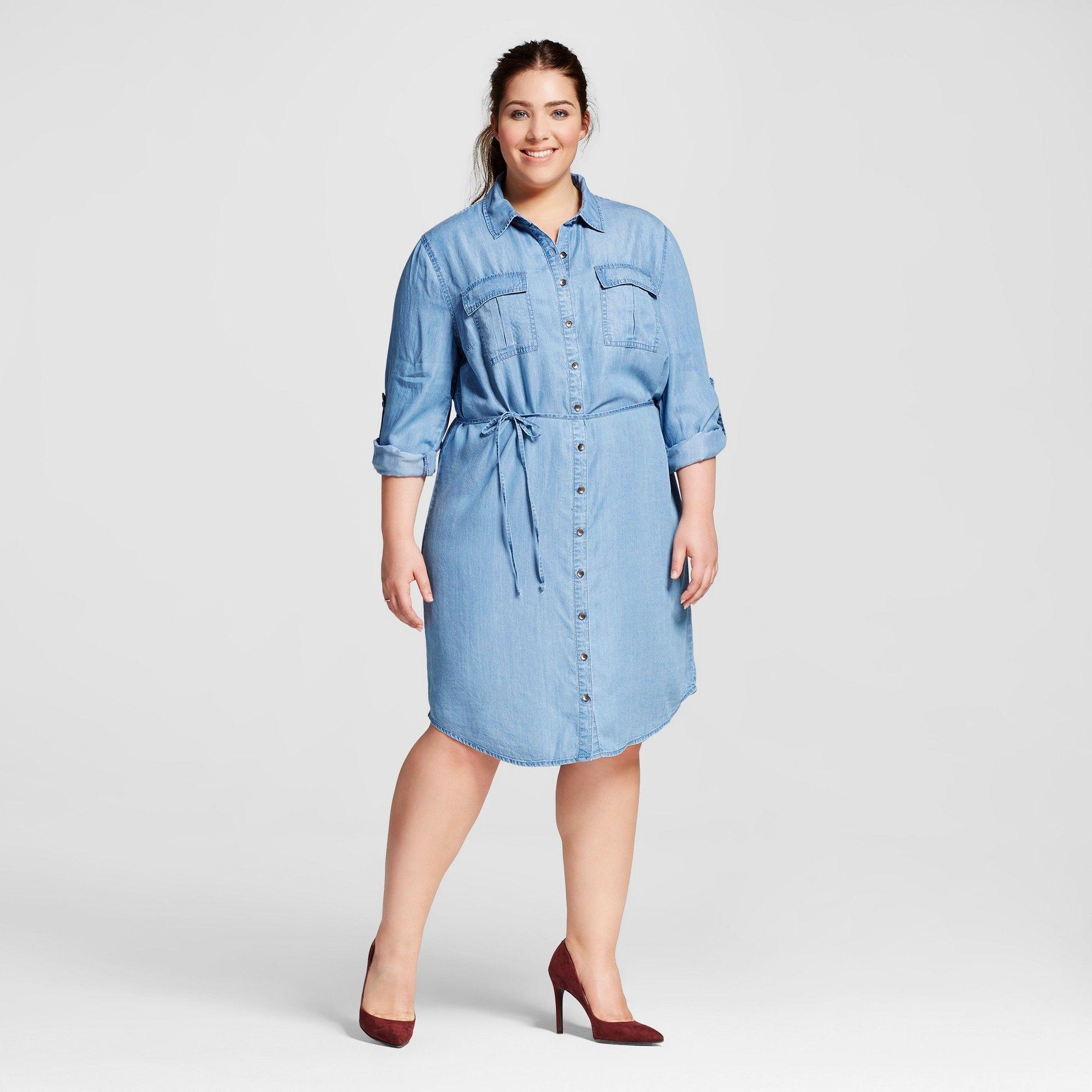 22220ae1c4b Women s Plus Size Tencel Shirtdress - Ava   Viv - Medium Wash 1X ...