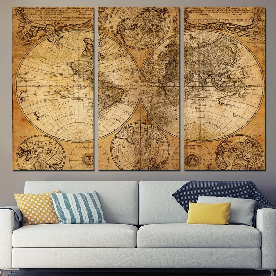 HD Printed Piece Canvas Art World Map Canvas Ancient Map Painting - 3 piece world map wall art