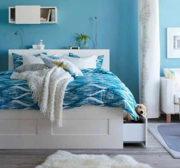 Ikea Schlafzimmer Design Idee Blaue Wand