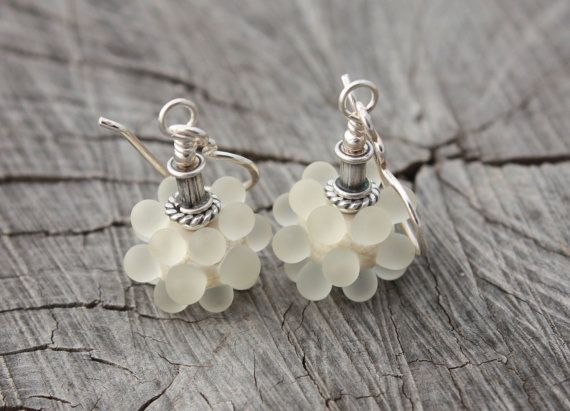 Lovely Etched Ivory Bubbles Earrings by Phishstuff on Etsy