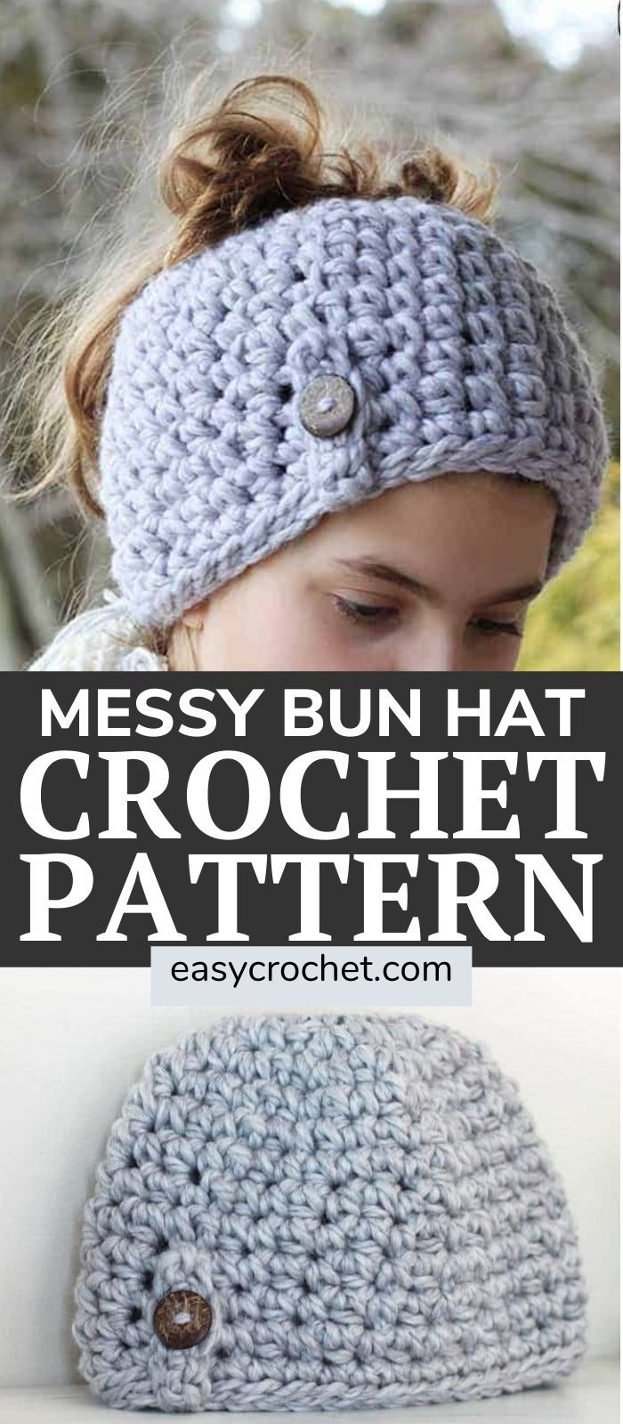Messy Bun Hat Pattern via easycrochetcom   Messy bun hat pattern ...