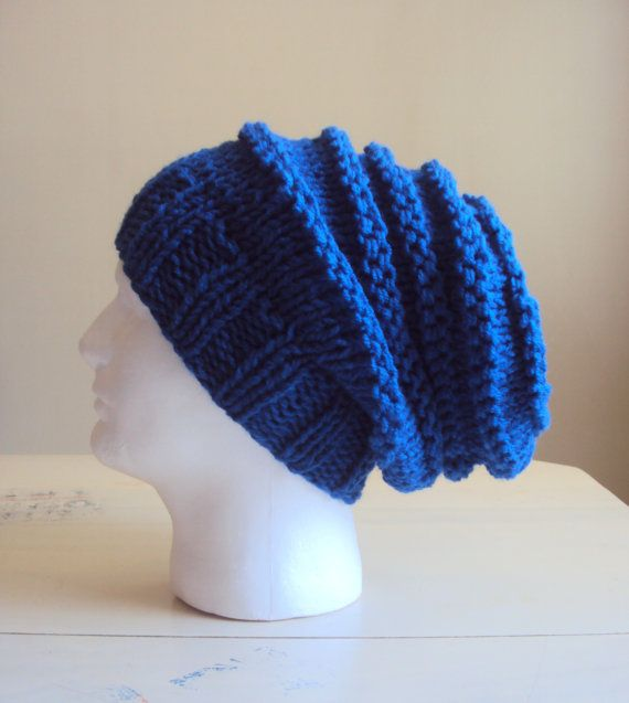 Mens Slouchy Hat Hand Knit Oversized Navy Beanie Slouch Beret Rasta ...