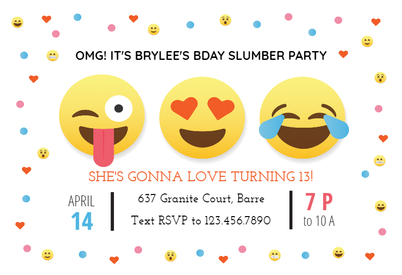 OMG Emoji Slumber  Sleepover Party Invitation Template (Free is part of Free birthday invitations, Free birthday invitation templates, Emoji party invitations, Birthday invitations kids, Emoji birthday invitations, Birthday party invitations free - Create 'OMG Emoji Slumber'  Sleepover invitation  Add text and photos  Download, print or send online for free!