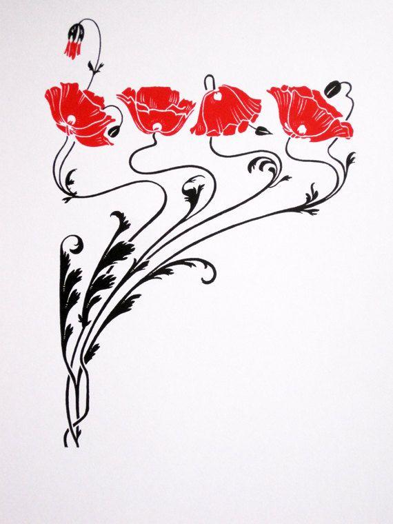 Art Nouveau Red Poppies Art Nouveau Flowers Art Nouveau Illustration Art Nouveau Pattern
