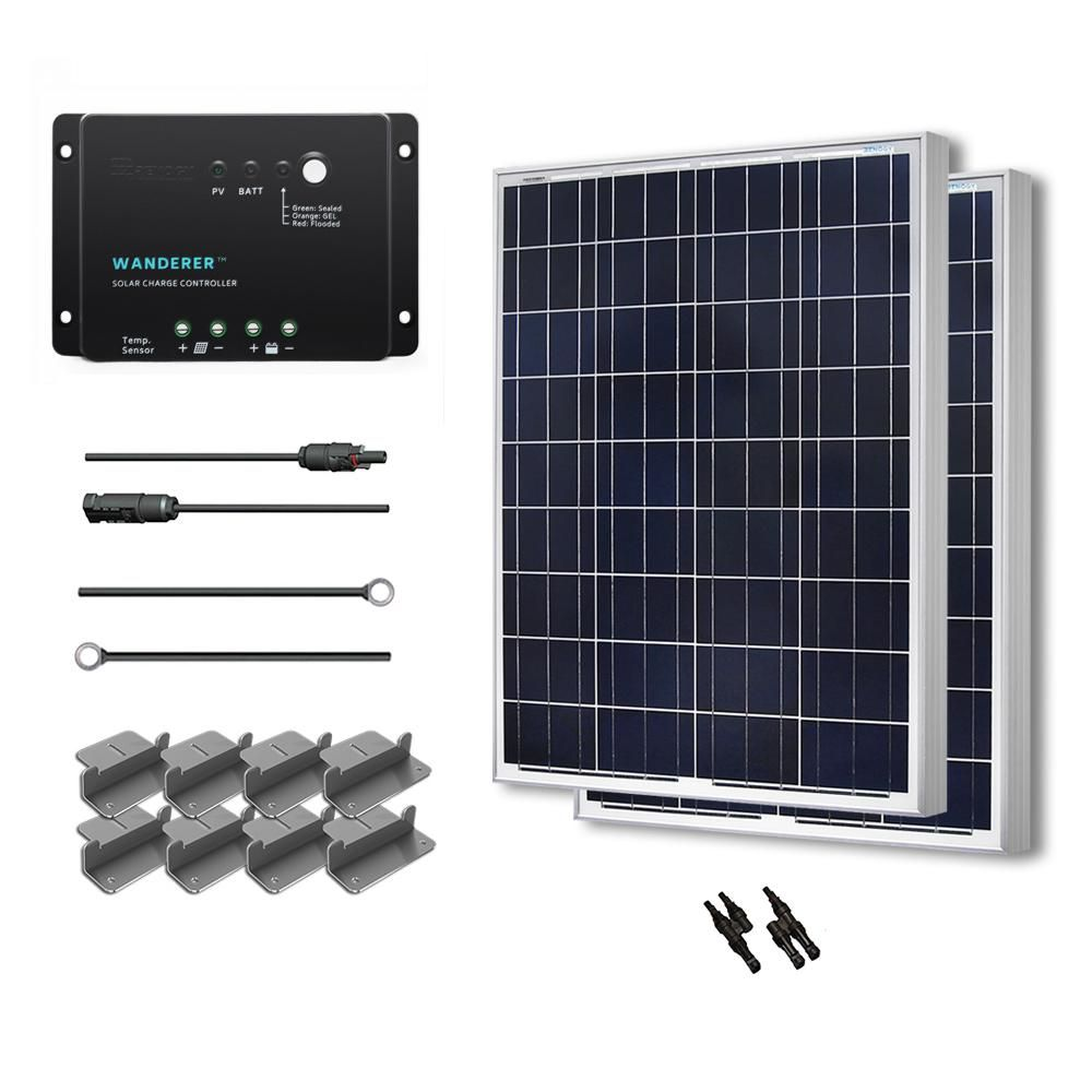Renogy 200 Watt 12 Volt Polycrystalline Solar Starter Kit For Off Grid Solar System Starter200pwd30 Solar Panel Kits Solar Panels 12v Solar Panel