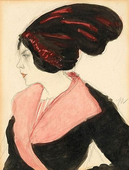 """Jeanne Mammen (German, 1890-1976) ~ She captured the powerful and sensual aspects of women during Weimar era Germany.  """"Lady in a Turban"""""""