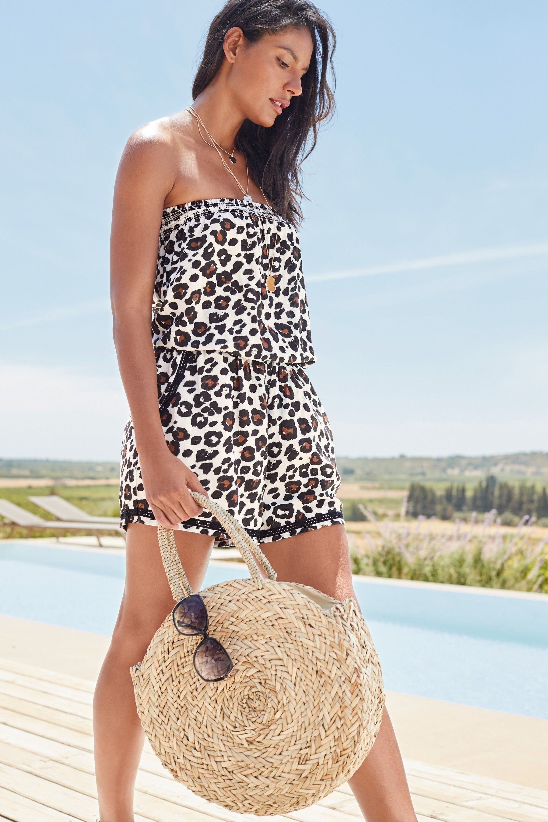 2bf1ed8a34 Womens Next White Leopard Playsuit - Black