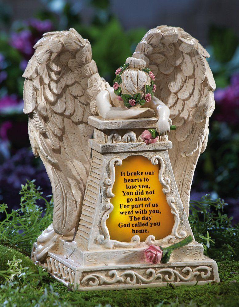 Amazon.com: Solar Lighted Weeping Angel Memorial Garden Stone By  Collections Etc: Patio, Lawn U0026 Garden