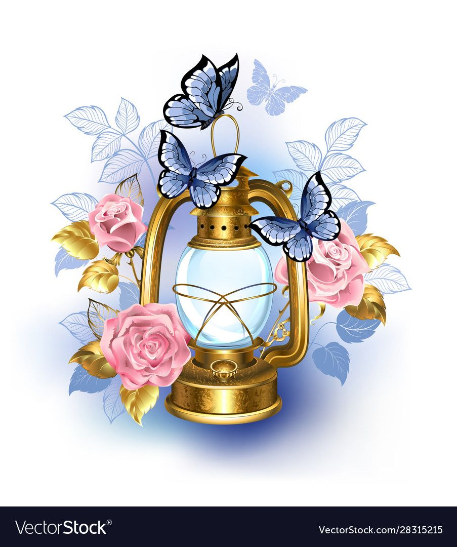 Kerosene Antique Brass Lamp Decorated With Pink Blooming Roses And Blue Butterflies On White Background Ilustracao De Flor Pintura Arco Iris Aquarela Floral