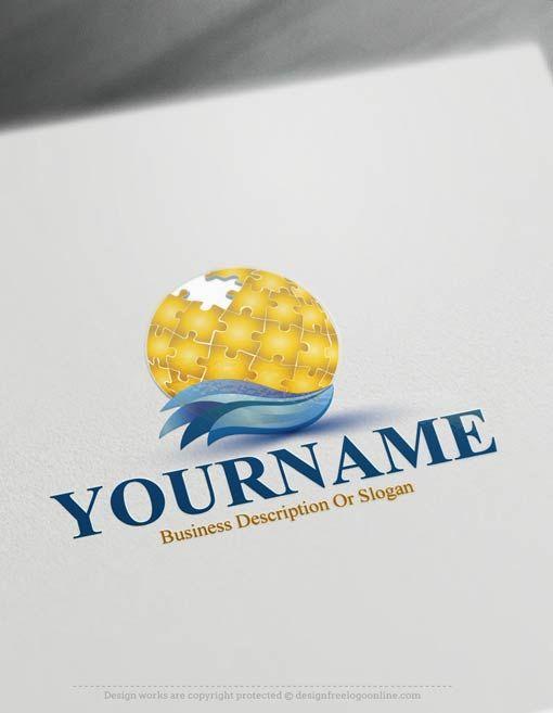 Free Logomaker - Puzzle globe Logo Template Amazing Globe Logo