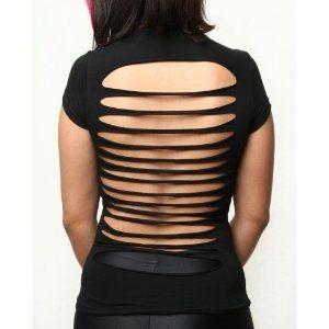 Sexy Cut Up Open Back Shirt - Black S (Apparel)  http://freegiftcard.skincaree.com/tag.php?p=B000V4O2KO  B000V4O2KO