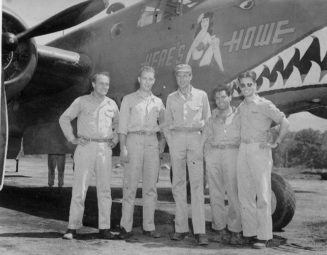 "NAA B-25D Mitchell serial no. 41-30279 ""Here's Howe"" first assigned to 90th BS, 3rd BG, 5th AF. Later assigned to 500th BS 345th BG, 5th AF. Lost in friendly fire incident (shot down by US Navy anti-aircraft battery) on December 26th 1943. All crew lost..."