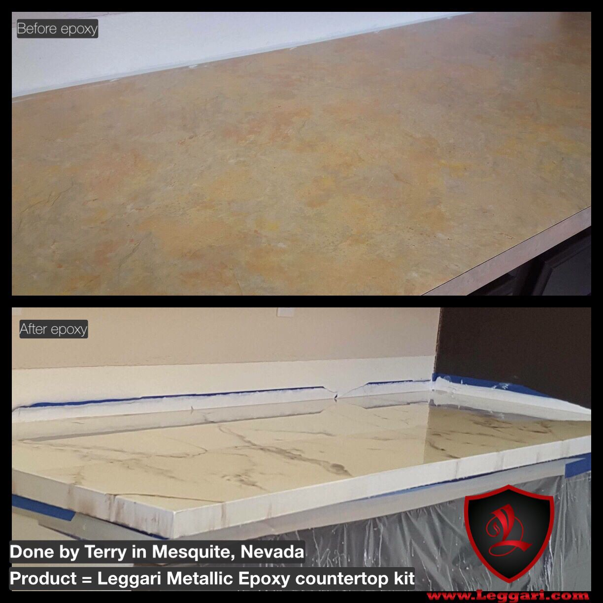 Before And After Countertop Coated With A Leggari Products Diy
