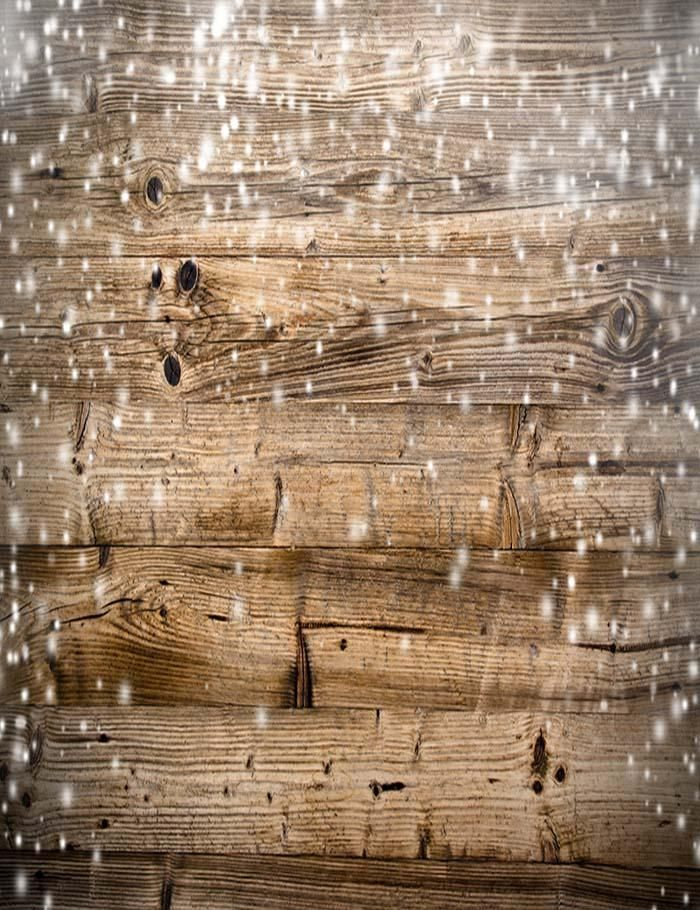 Wood Wall With Snow Sparkle Photography Backdrop N-0005 in ...
