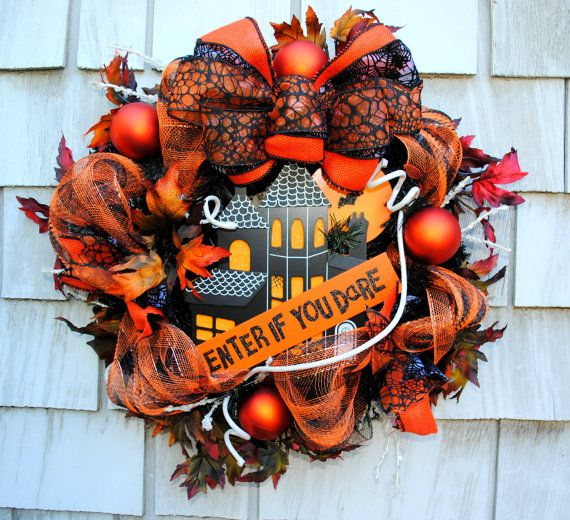 Happy Halloween! Listed is a cool, creepy and fun Haunted House sign Halloween wreath. I used awesome premium ribbon, deco mesh, and haunted
