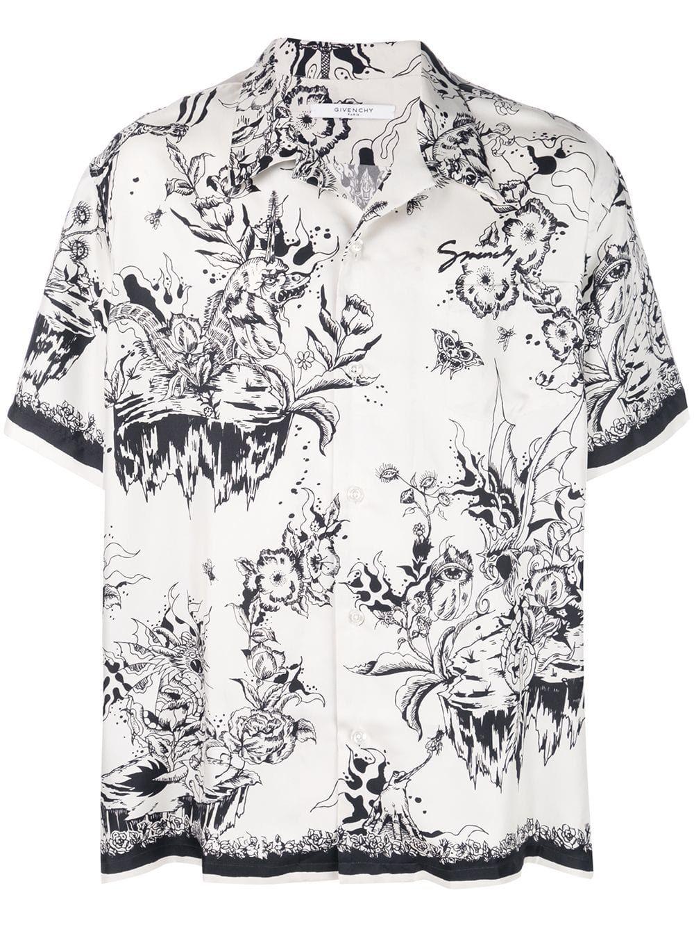 850041fa GIVENCHY GIVENCHY MONSTER PRINT HAWAIIAN SHIRT - WHITE. #givenchy #cloth