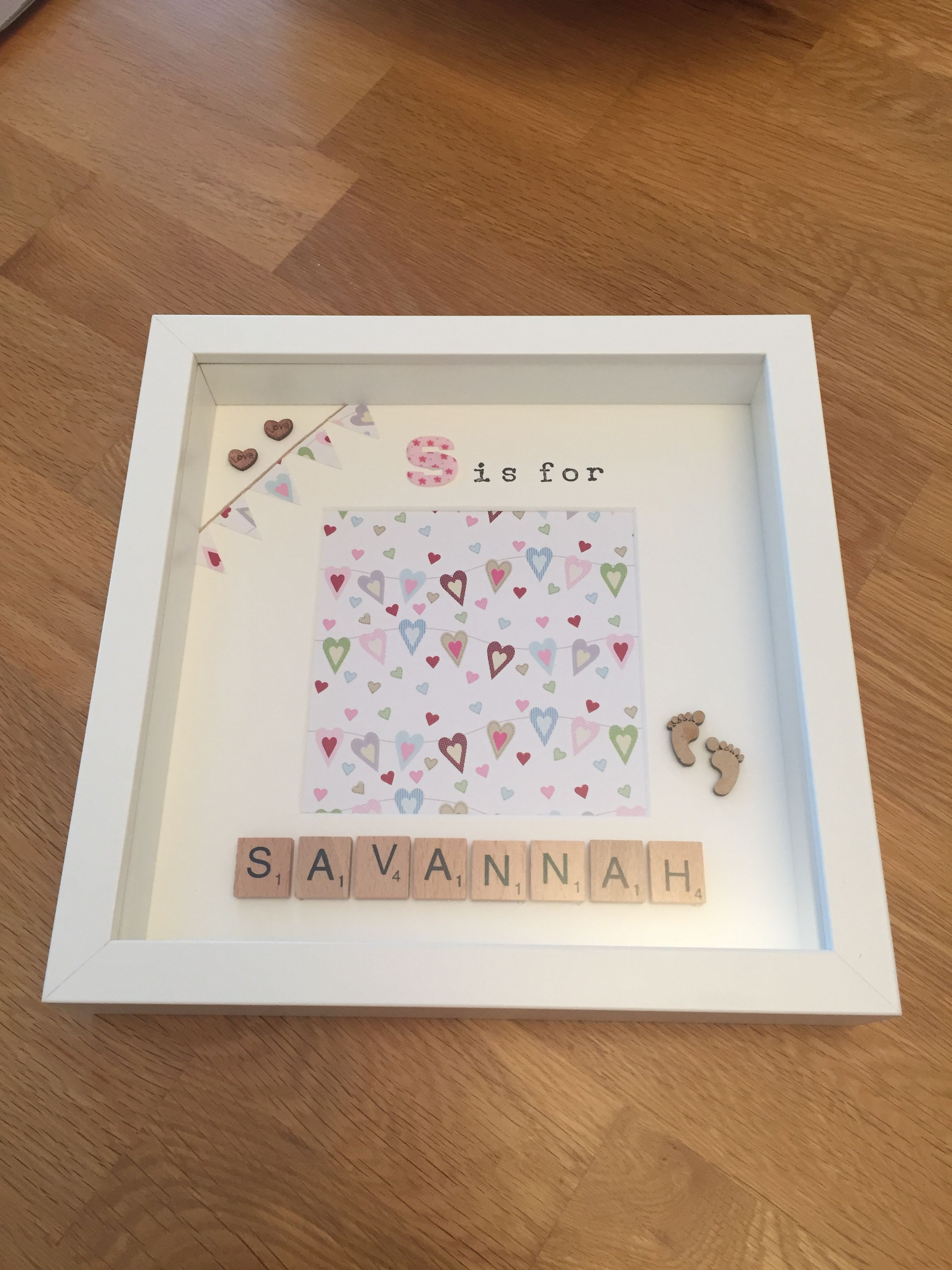 S is for Savannah - personalised memory frame / scrabble letters ...