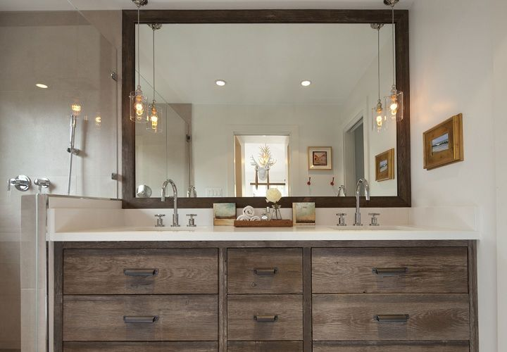I like the rustic chic vanity cabinets!