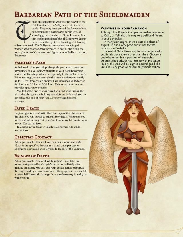 Barbarian Path Of The Sheildmaiden Dungeons And Dragons Homebrew Dungeons And Dragons Classes Barbarian Dnd