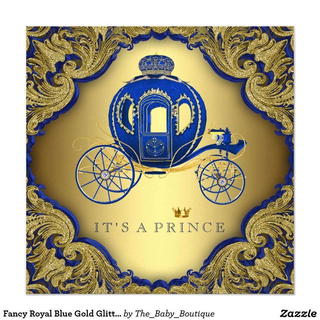 Fancy Royal Blue Gold Glitter Prince Baby Shower Invitation | Prince ...