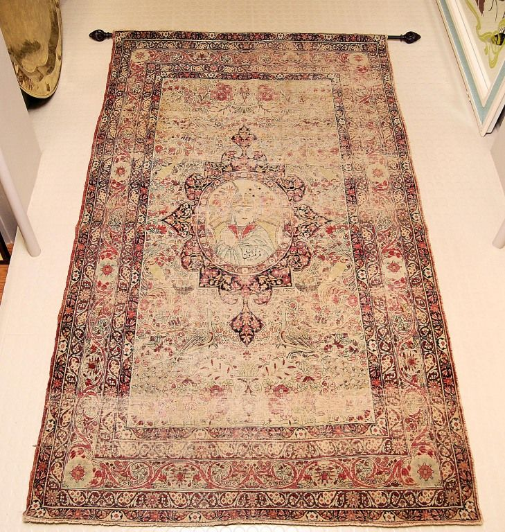 Antique Kerman Persian Rug Wall Hanging From A Unique Collection Of And Modern