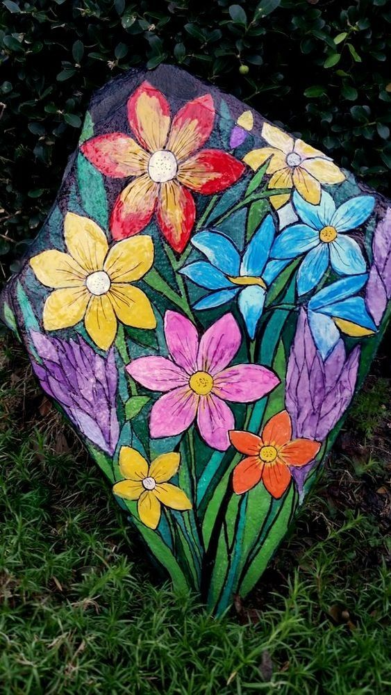 Hand-Painted Flower Rock -by nancymaggielee