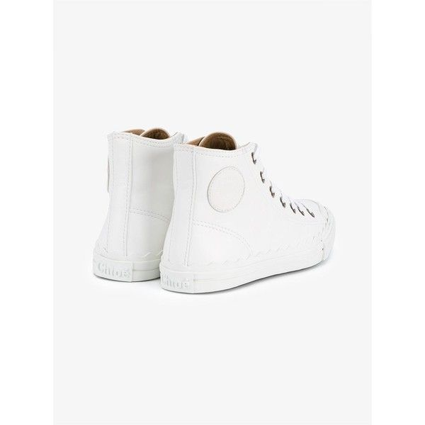 1a3c97c77df Chloé White Leather Kyle Hi Top Sneakers (£350) ❤ liked on Polyvore  featuring