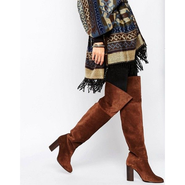 Mango Suede Over The Knee Boot (1.745 ARS) ❤ liked on Polyvore featuring shoes, boots, brown, suede thigh-high boots, brown over-the-knee boots, brown block heel boots, over-the-knee suede boots and brown boots