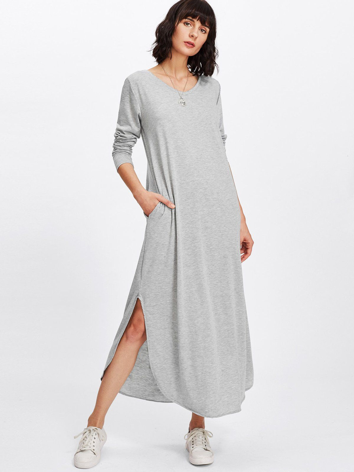 Split side longline dress casual wear sleeved dress and choices