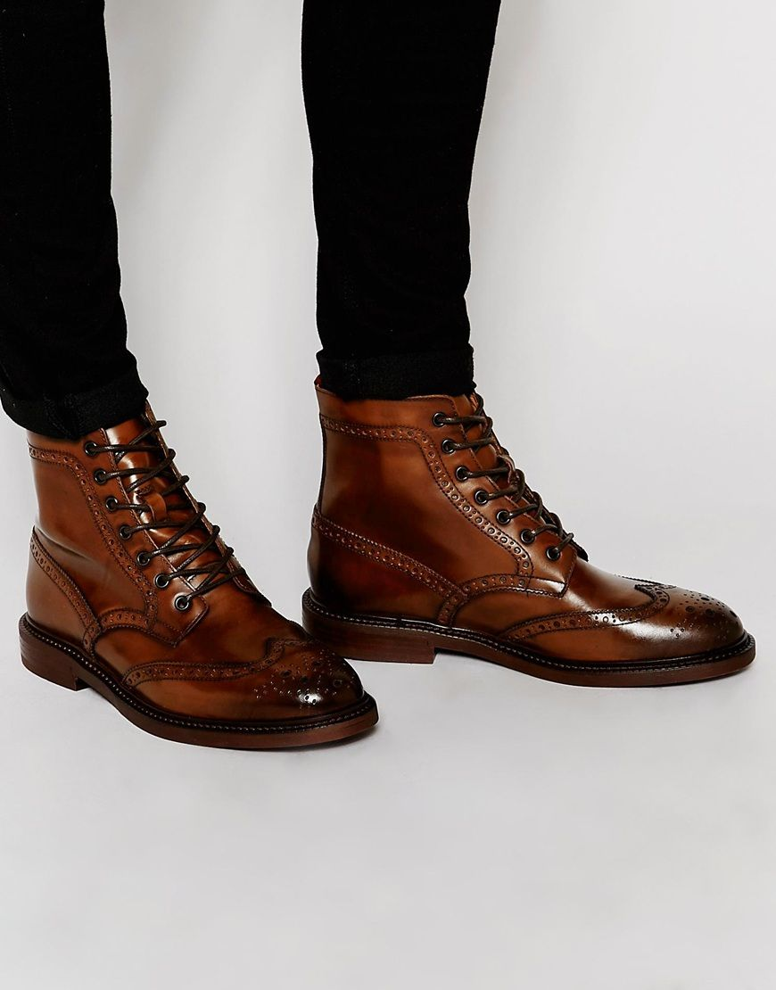 Buy Men Shoes / Asos Brogue Boots From Brown Leather With Chunky Sole