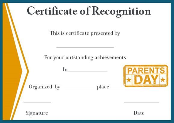 Certificate of recognition for outstanding parents certificate of certificate of recognition for outstanding parents yadclub Images
