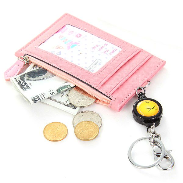 Sale 23 3 99 Women Candy Color Zipper Card Holder Hanging Key Chain Bags Coin Bags Leather Card Holder Wallet Money Purse Card Holder Leather