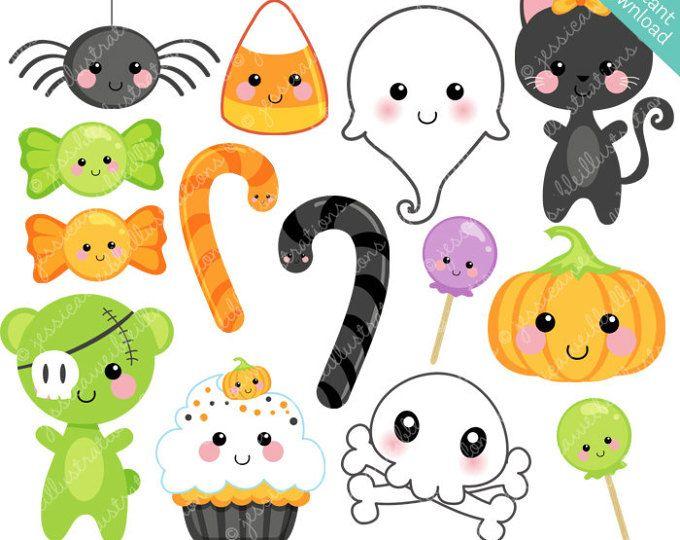 Halloween Clipart Kawaii Halloween Clip Art Kawaii Halloween Etsy Kawaii Halloween Halloween Graphics Halloween Clips