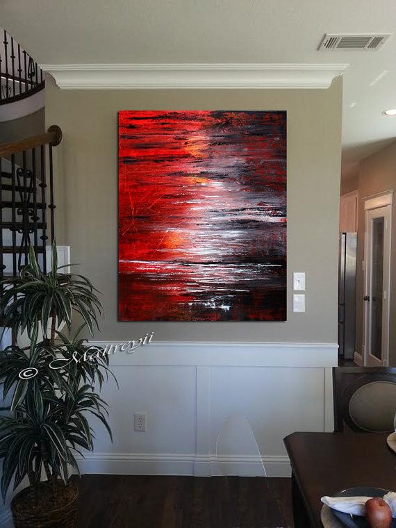 Wall Art Red living room decor, teal orange grey wall art on large size canvas