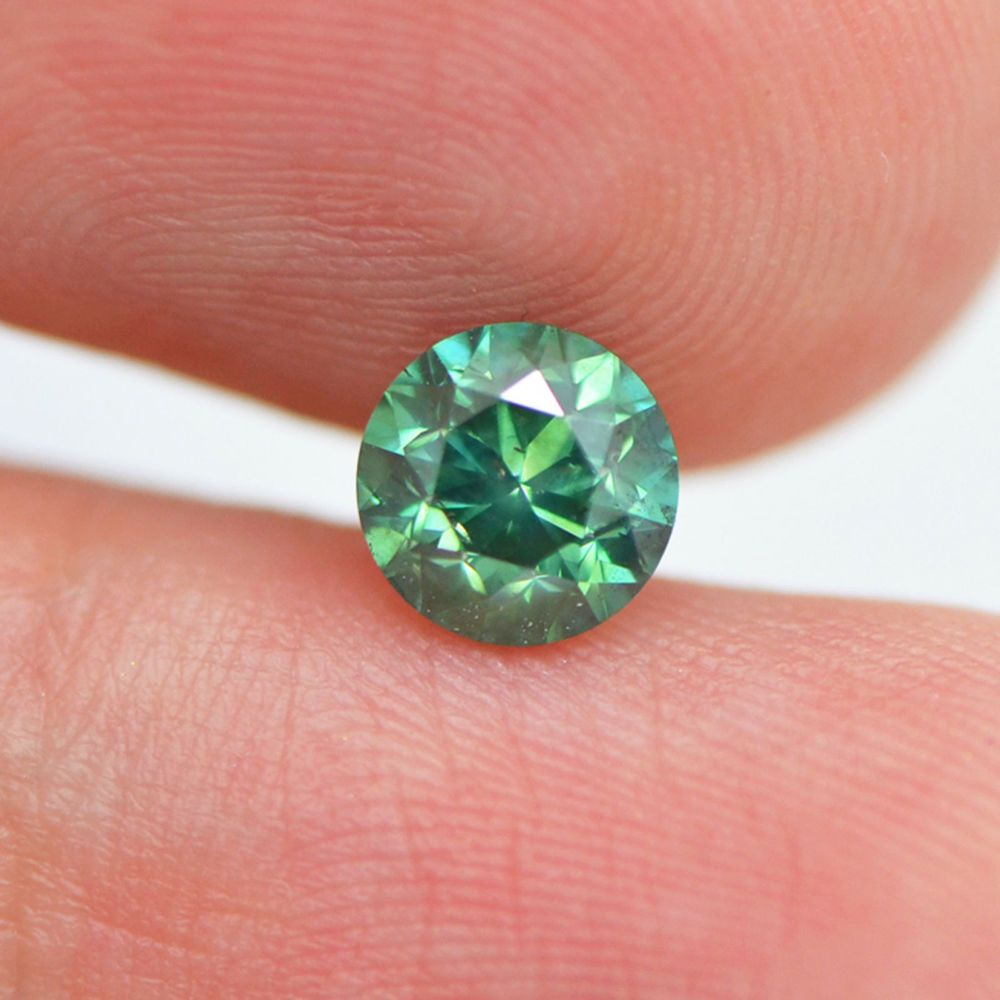 0.98 Carat Round Shape Fancy Green VS2 Loose Enhanced Diamond For ...
