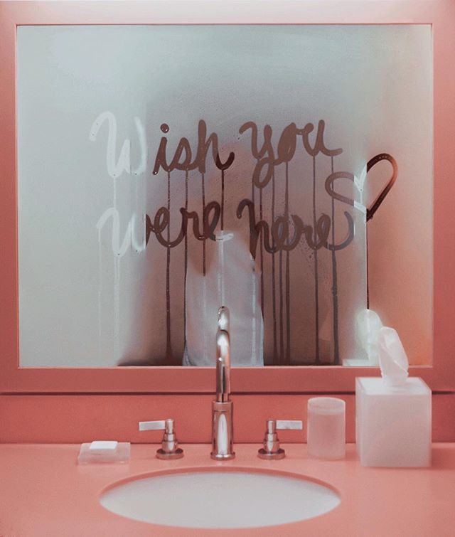 Wish You Were Here Bathroom Mirror