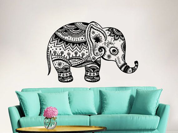 Elephant Wall Decal Stickers Floral Patterns Yoga Decals Home