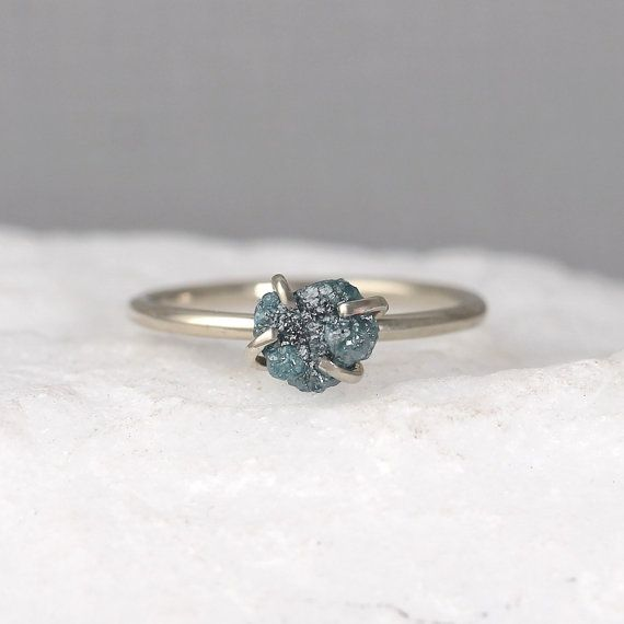 Raw Blue Diamond Ring  14K White Gold  Rough di EngagedJewelry