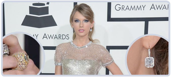 Taylor Swift Diamond Earrings and Cocktail Ring at Grammy Awards in