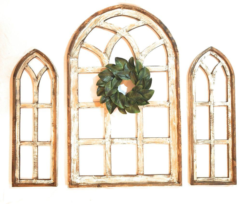 Farmhouse Wooden Wall Window Arch Large Wood Window Frame 2 Sizes Paradise Fields Arched Wall Decor Decor Around Tv Wood Window Frame
