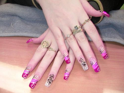 Beautiful Pink Cool Long Nail Design - Celebrity plastic surgery ...